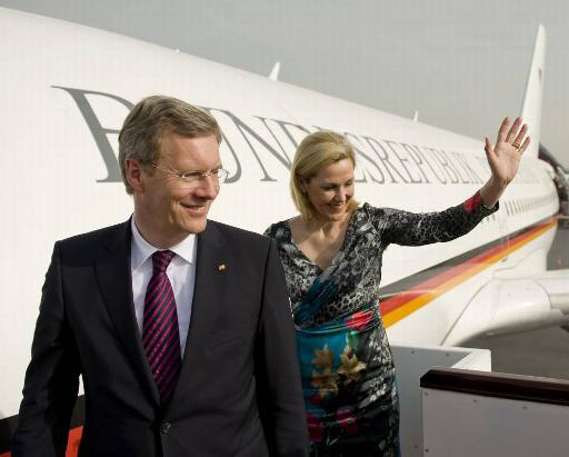 President of Germany Christian Wulff and his wife Bettina at Doha Airport in Qatar.